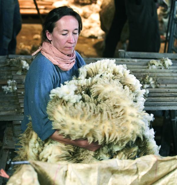 Arbeiterin bei der Rohverarbeitung von Wolle