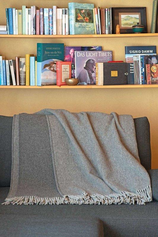 Wollplaid hellgrau/dunkelgrau 150 x 210 cm
