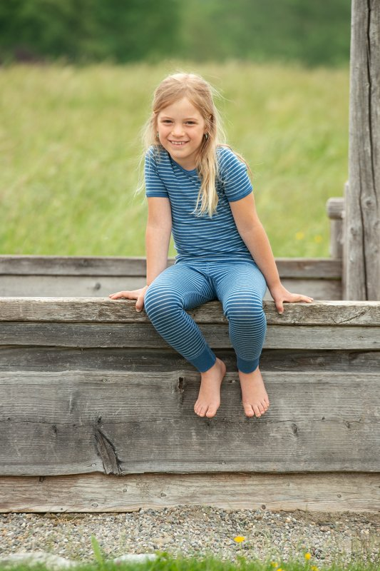 Geringeltes Wollhemd Kurzarm blau/naturweiß